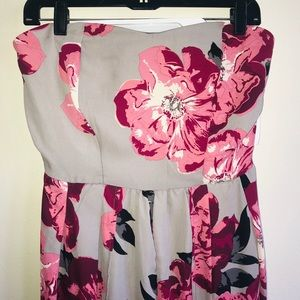 Romper, gray with pink flowers